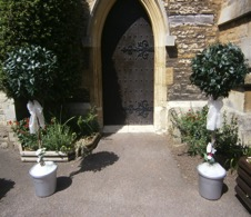 Bay trees in position at the entrance of the chapel at the RAU, cirencester.