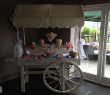 hire a vintage candy cart for your wedding day with Gloucestershire hire company all all about fun uk.com