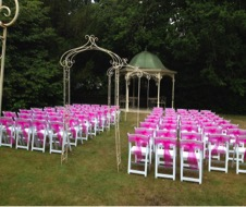 Chair sashes for hire @ all about fun uk weddings, chair sashes are the perfect finishing touch on Cheltenham chairs and charivari chairs.
